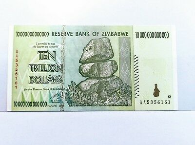 ZIMBABWE TEN TRILLION DOLLARS Banknote. Hyperinflation series UNCIRCULATED