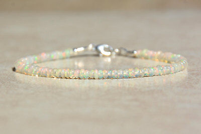 Natural Ethiopian Fire OPAL Gemstone Beads Bracelet 925 Sterling Silver Clasp S2