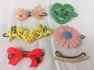VTG Mid Century Child's Hair Barrettes Pins (6) Assorted Plastic Pins USA