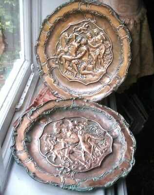 Old Antique 2x Large French Copper Embossed Nude Figure Man Lady Plaques c.1890