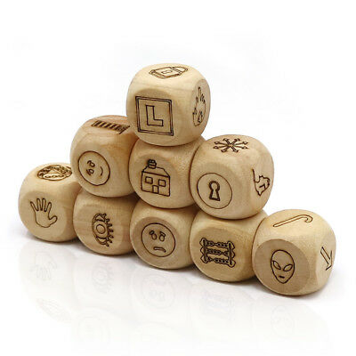 dice game look picture telling a story wood cubes with Transparent box for