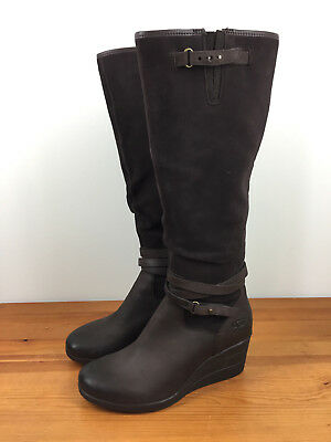 645f2210388 UGG AUSTRALIA LESLEY Stout Brown Waterproof Suede Wedge Knee High Boot 7 M  $498