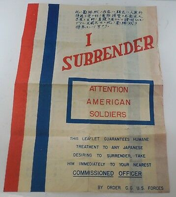 "WW II - ""I Surrender"" - Safe Conduct Pass - For Japanese - #522L"