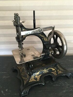 Antique Muller #20 Germany Cast Iron Toy Travel Sewing Machine, Stenciled