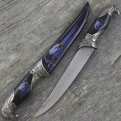 "13"" EAGLE HEAD DAGGER KNIFE w/ COLLECTOR'S SHEATH Fantasy Steel Hunting Blade"
