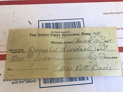 Cancelled Check The Idaho First National Bank