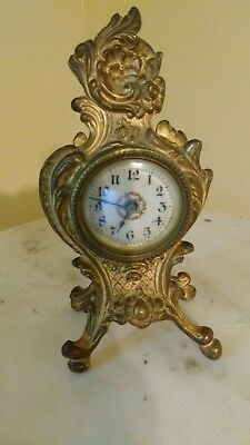 Antique Cast Iron French/Italian Style Desk Clock -The Western Clock Mfg Co