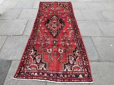 Old Hand Made Traditional Persian Rug Oriental Rug Wool Red Long Rug 267x111cm