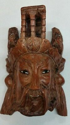 Antique vintage hand carved Asian Chinese theater mask wall plaque cherry wood