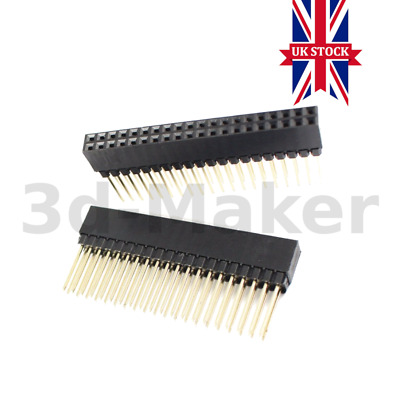 2x20 Pin 40 Pin Female Double Row Long Header Strip PC104 RPi GPIO - UK STOCK