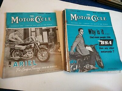 Job Lot Of Vintage The Motor Cycle Magazine X 9 From 1956