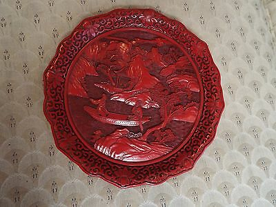 Vintage Carved Chinese Cinnabar Repousse Plate Or Platter Nr
