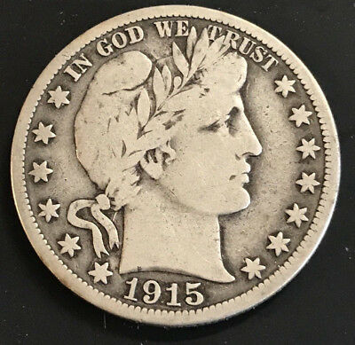 1915 S Barber Half Dollar, Fine To VF Condition, Low Mintage, Very Nice Coin!