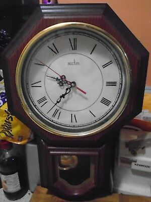 Vintage Acctim Quartz  Wood Effect Wall Clock, With Pendulum