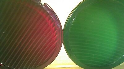 "Vintage Railroad Lenses For Railroad Lantern 5 3/8"" diameter. Red and green."
