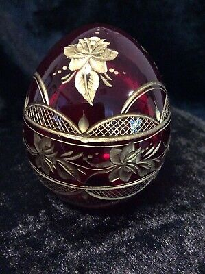 Faberge Red Cut Glass Egg Marked With Faberge Label To Base