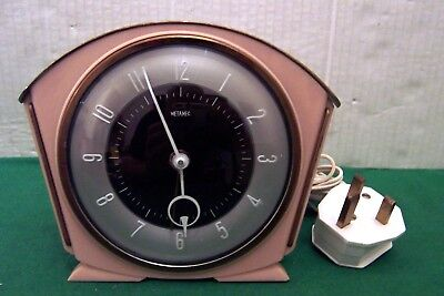 Rare Art Deco Pink Metamec Electric  Mantle Clock In Perfect Working Condition