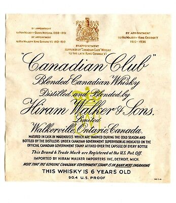 1930s HIRAM WALKER & SONS DISTILLERY, WALKERVILLE, ONTARIO, CANADA WHISKEY LABEL