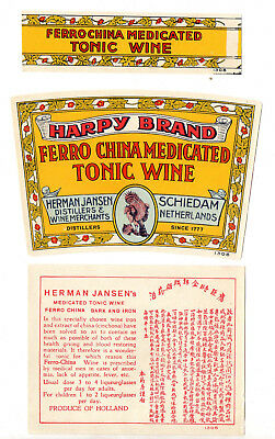 1920s HERMAN JANSEN DISTILLER, SCHIEDAM - HOLLAND CHINA TONIC WINE LABEL SET