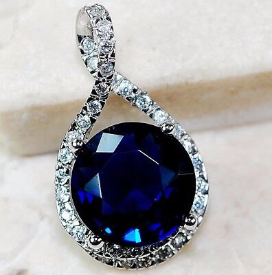 5CT Blue Sapphire & Topaz 925 Solid Genuine Sterling Silver Pendant Jewelry