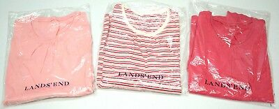 NWT LOT OF 3 SHIRTS Lands' End LS Floral Girls M (10-12) Pink Red Striped NEW