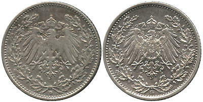 Lot of Two 1906 Germany Silver 1/2 Marks