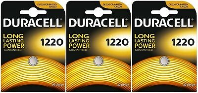 3x Duracell 1220 3V Lithium Coin Cell CR1220/DL1220 Batteries (3 Batteries)