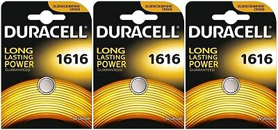 3x Duracell 1616 3V Lithium Coin Cell CR1616/DL1616 Batteries (3 Batteries)