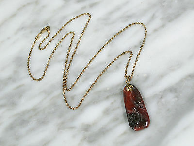 Antique Chinese Grade A Carved Red Jadeite Jade Pendant Necklace Solid 14K Gold