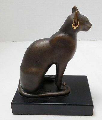 Vintage MET Egyptian Bastet Cat Goddess Statue w Earrings