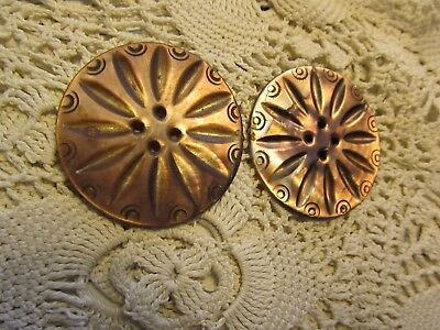 Pair Of Large Vintage Beautiful Dark Carved Mother Of Pearl Shell Buttons