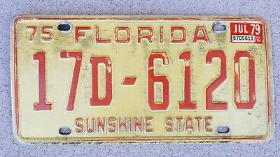 1975 Florida License Plate 17D-6120 17D6120 with 1979 sticker