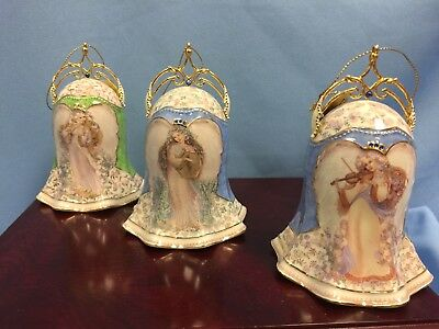 "VTG Lot 3 Bradford Editions Bells, Heavenly Harmony, 4.75"" Angels, NOS IOB COA"