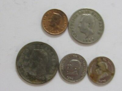 Lot of 5 Different Old El Salvador Coins - 1963 to 1975 - Circulated