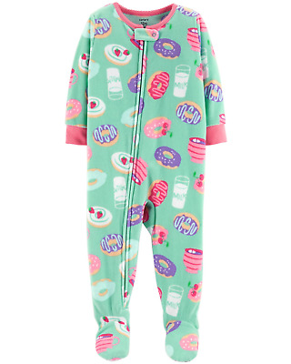 NWT CARTERS GIRLS FLEECE PAJAMAS FOOTED SLEEPER     donuts mint    u pick size
