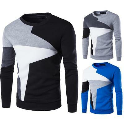 Fashion Men's Casual Long Sleeved Wind Hit The Color Stitching HedgingSweatersA