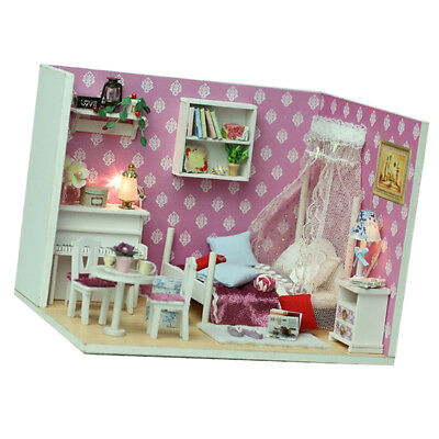DIY Wooden Dollhouse Miniature Kit w/ Furniture, Light - Queen Bedroom Gift