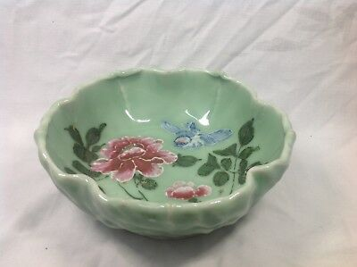 19th C Chinese Celadon Lobed Bowl With Blue And Pink Enamel
