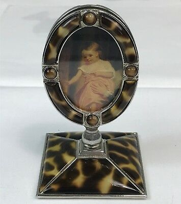 Jay Strongwater Oval Picture Frame on Stand  Faux Tortoiseshell & Tiger Eye