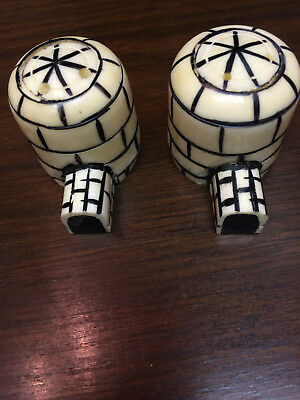 Vintage 1940's Native American Eskimo Igloo Walrus Ivory Salt & Pepper Shakers