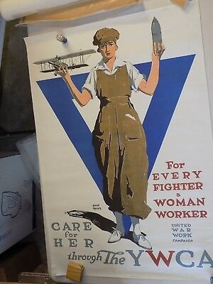 "World War I Poster - original - ""Care for Her ... YWCA""  (add'l ship $5)"