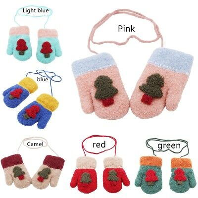 Kawaii Kids Christmas Tree Mittens Baby Knitted Gloves Winter Warm Neck String F