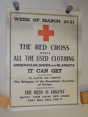 World War I Poster - original - Red Cross Used Clothing  (add'l ship $5)