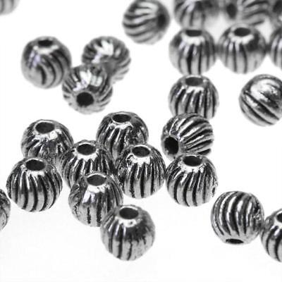 100 pieces Tibetan Silver Watermelon round Alloy metal spacer Beads 4mm 1mm hole