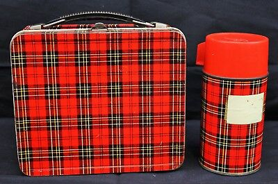 Vintage Aladdin Red Tartan Plaid Metal Lunchbox and Thermos Set
