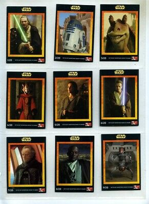 Star Wars Episode 1 Complete 20 Card Set - KFC - 1999