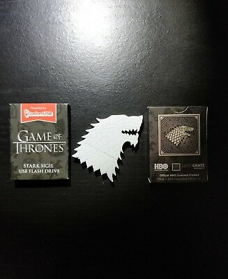 Game of Thrones 4GB USB Jon Snow White Wolf House Stark HBO Loot Crate Targaryen