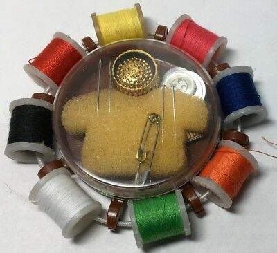 Sewing Kit with 8 spools Thread, Thimble, Tape Measure, Threader, Buttons etc.