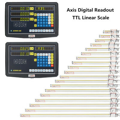 2/3 Axis Linear Lathe Scale Encoder Digital Readout Display 50-1000mm Ruler