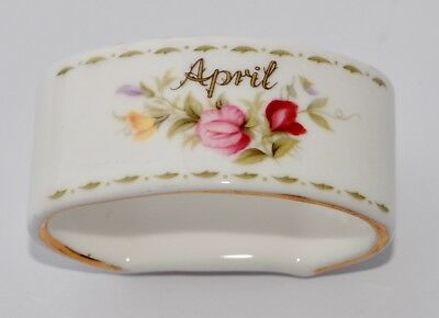 Rare Royal Albert Flower of the Month Napkin Ring - April Sweet Pea